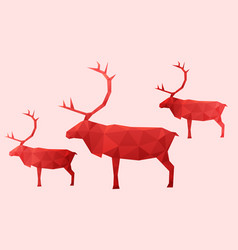 3 red abstract reindeer vector image