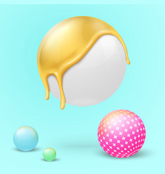 3d realistic bright balls dripping gold vector