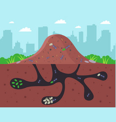 A large anthill with passages underground vector