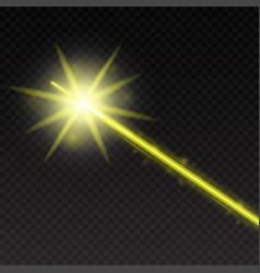 Abstract yellow laser beam magic neon light lines vector