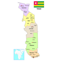 administrative map togo west africa vector image