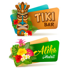 aloha tiki bar banners set vector image