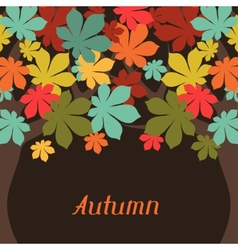 Background of stylized autumn trees for greeting vector image