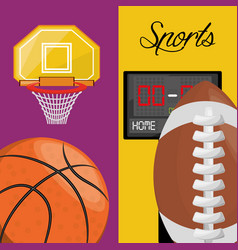 basketball and football points competition game vector image