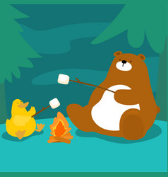 bear and duck grill marshmallow at campfire vector image