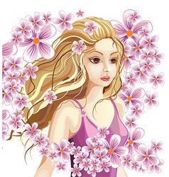 Beautiful blonde girl in a wreath flowers vector
