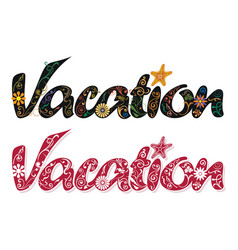 beautiful decoration for vacation word vector image