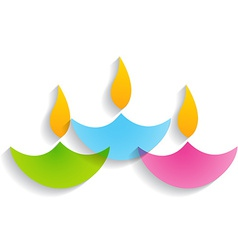 beautiful diwali diya vector image