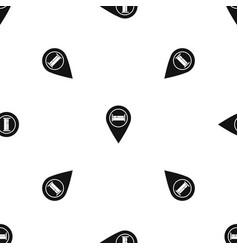 Bed hostel hotel sign pattern seamless black vector