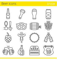 Beer linear icons set vector