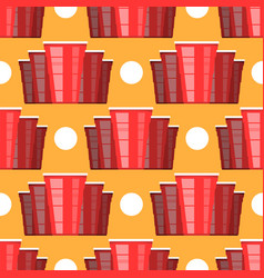 Beer pong tournament red plastic cup and white vector