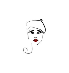 beret hat girl icon element beautiful girl in vector image