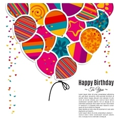Birthday card with balloons in the style of vector
