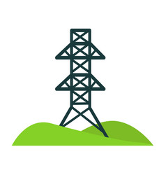 black tower for wires on piece of land with hills vector image