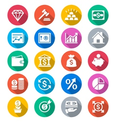 Business and investment flat color icons vector image