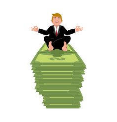Business yoga and money businessman meditating on vector