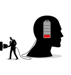 businessman charging a brain vector image