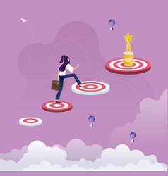 Businesswoman climbing to bigger target vector