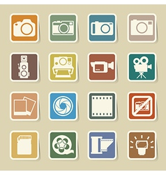 Camera and Video sticker icons set vector image vector image