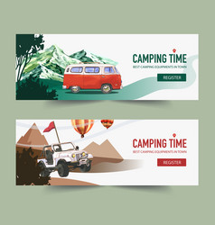 camping banner design with van mountain tree vector image