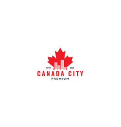 Canada maple red with city silhouette logo design vector