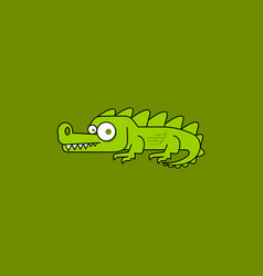 cartoon crocodile isolated on green background vector image