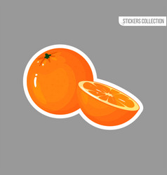 cartoon fresh orange isolated sticker vector image