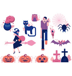 cartoon halloween autumn holiday symbols vector image