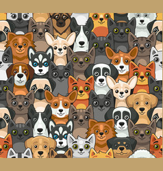cat and dog seamless pattern cute cartoon style vector image