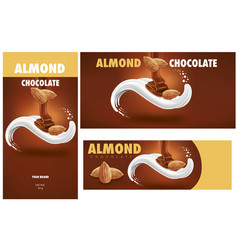 Chocolate packaging with almonds vector
