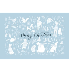 Christmas animal collection vector image