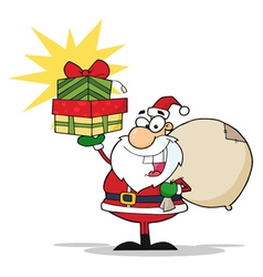 christmas santa holding up a stack of gifts vector image vector image