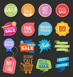 collection colorful modern badges and labels 6 vector image