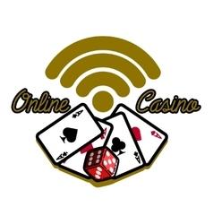 Color vintage online casino emblem vector