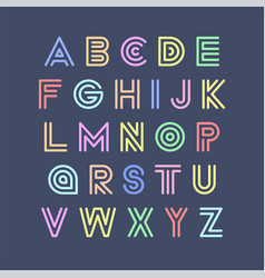 colorful striped funny font english vector image