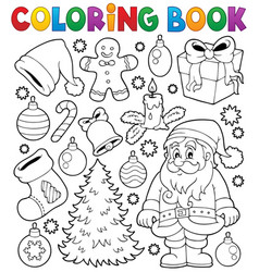 Coloring book christmas thematics 4 vector