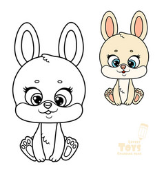 cute cartoon toy beige soft rabbit sit on white vector image