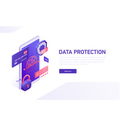 data protection 3d isometric template e vector image