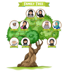 Diagram showing three generation arab family vector