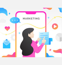 digital marketing with mobile phone vector image