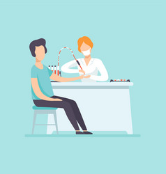 doctor taking blood test at male patient in vector image
