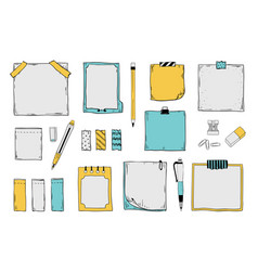 Doodle sticky notes notepad paper sheets vector