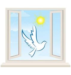 Dove bird pigeon fly in open window vector