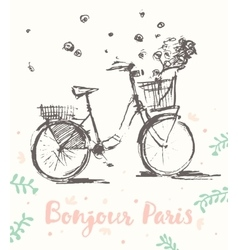 Drawn cute vintage bicycle flowers Paris vector image