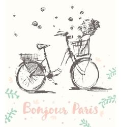 Drawn cute vintage bicycle flowers paris vector