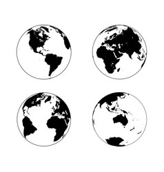 Earth globe in four rotations vector