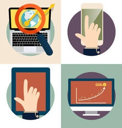 Electronic Device Flat Icons computer laptop vector