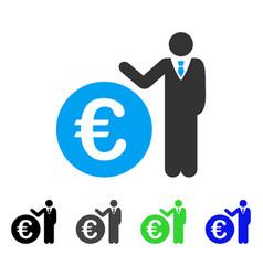 Euro economist flat icon vector
