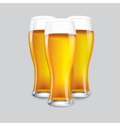 Excellent realistic isolated 3 glasses of beer vector