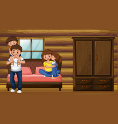 family with parents and two kids in bedroom vector image